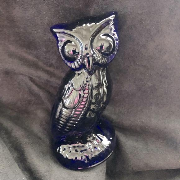 Vintage Cobalt Blue Glass  Paper Holder Owl
